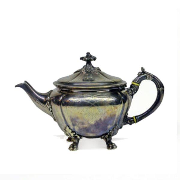 Чайник антиквариат конец 19 начало 20 века, мельхиор, кость