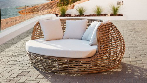 Лаунж-диван плетеный с подушками Ruby