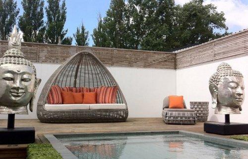 Лаунж-диван плетеный с подушками Shade