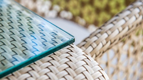 Стол плетеный со стеклом Journey skyline